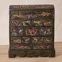 Wood and leather jewelry box, 'Mystic Glory' - Wood and Leather Jewelry Box from Peru
