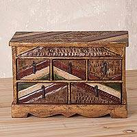 Wood and leather jewelry box, 'Colonial Secret' - Handcrafted Wood and Leather Jewelry Box