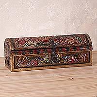 Wood and leather chest, 'Secret of the Andes' - Handcrafted Wood and Leather Chest from Peru
