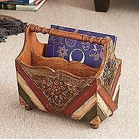 Wood and leather magazine holder, 'Desert Flower' - Handcrafted Leather and Wood Magazine Holder