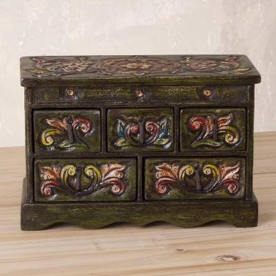 Wood and leather jewelry box, 'Ornate Grandeur' - Handcrafted Wood and Leather Jewelry Box