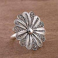 Sterling silver filigree cocktail ring, 'Sweet Dark Petals'