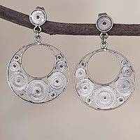 Sterling silver filigree dangle earrings, 'Dark Dreamy Crescents'