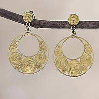 Gold plated sterling silver filigree dangle earrings, 'Golden Dreamy Crescents'