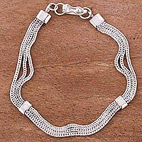Sterling silver chain bracelet, 'Silvery Royalty' - Sterling Silver Naga Chain Bracelet from Peru