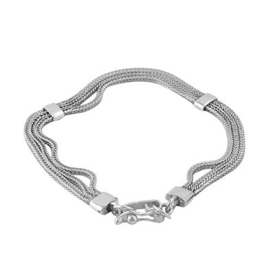 Sterling silver chain bracelet, 'Dragon Royalty' - Sterling Silver Naga Chain Bracelet from Peru