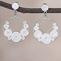 Sterling silver filigree dangle earrings, 'White Dreamy Crescents' - Crescent-Shaped Sterling Silver Filigree Earrings from Peru