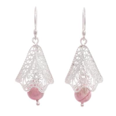 Rhodonite and Silver Filigree Dangle Earrings from Peru