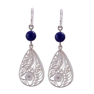 Sodalite and Silver Filigree Dangle Earrings from Peru