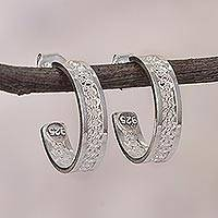Sterling silver filigree half-hoop earrings, 'Imperial Elegance' - Sterling Silver Filigree Half-Hoop Earrings from Peru