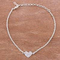 Sterling silver pendant bracelet, 'Enamored Heart' - Heart-Shaped Sterling Silver Pendant Bracelet from Peru