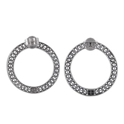 Circular Sterling Silver Filigree Drop Earrings from Peru
