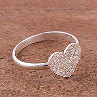 Sterling silver cocktail ring, 'Enamored Heart' - Heart-Shaped Sterling Silver Cocktail Ring from Peru