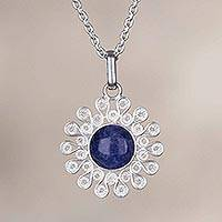 Sodalite filigree pendant necklace, 'Cool Star' - Sodalite and Silver Filigree Pendant Necklace from Peru