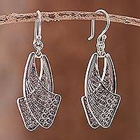 Sterling silver filigree dangle earrings, 'Dancing Wings' - Handcrafted Sterling Silver Filigree Earrings from Peru
