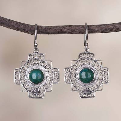 Chrysocolla filigree dangle earrings, 'Green Valley Chakana' - Chrysocolla Chakana Cross Filigree Dangle Earrings from Peru