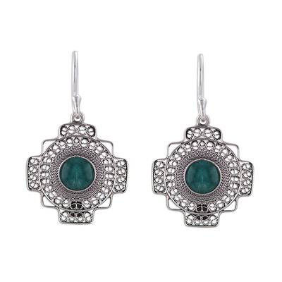 Chrysocolla Chakana Cross Filigree Dangle Earrings from Peru