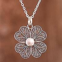Sterling silver filigree pendant necklace, 'Enchanted Clover'