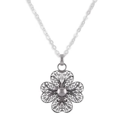Sterling silver filigree pendant necklace, 'Enchanted Clover' - Sterling Silver Filigree Clover Pendant Necklace from Peru