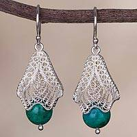 Chrysocolla filigree dangle earrings, 'Blue-Green Bells' - Chrysocolla and Silver Filigree Dangle Earrings from Peru