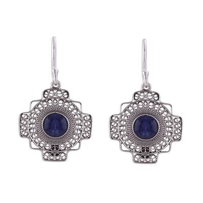 Sodalite filigree dangle earrings, 'Blue Mountain Chakana' - Sodalite Chakana Cross Filigree Dangle Earrings from Peru