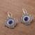 Sodalite filigree dangle earrings, 'Blue Mountain Chakana' - Sodalite Chakana Cross Filigree Dangle Earrings from Peru (image 2b) thumbail