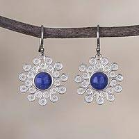 Sodalite filigree dangle earrings, 'Cool Stars' - Sodalite and Silver Filigree Dangle Earrings from Peru
