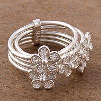 Sterling silver filigree cocktail ring, 'Orbiting Flowers' - Floral Sterling Silver Filigree Cocktail Ring from Peru