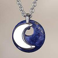 Sodalite pendant necklace, 'Blue Moon Eclipse' - Moon-Themed Sodalite Pendant Necklace from Peru