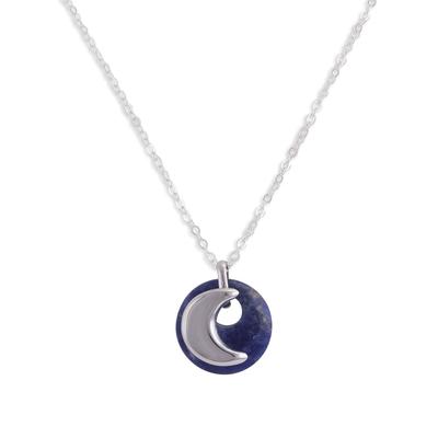 Sodalite pendant necklace, 'Blue Moon Eclipse' - Moon-Themed Sodalite Pendant Necklace from Peru