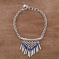 Sodalite pendant bracelet, 'Blue Kingdom' - Sodalite and Sterling Silver Pendant Bracelet from Peru