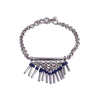 Sodalite pendant bracelet, 'Blue Kingdom' - Sodalite and Sterling Silver Pendant Bracelet from Peru