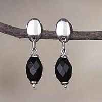 Obsidian dangle earrings, 'Elegant Night' - Glistening Natural Obsidian Dangle Earrings from Peru