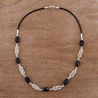 Obsidian link necklace, 'Elegant Night' - Obsidian and Sterling Silver Link Necklace from Peru
