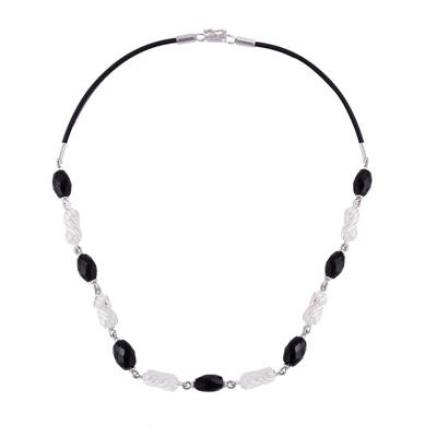 Obsidian and Sterling Silver Link Necklace from Peru