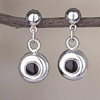 Obsidian dangle earrings 'Desert at Dusk' - Circular Natural Obsidian Dangle Earrings from Peru