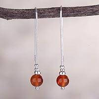 Agate drop earrings, 'Pathway to Color' - Modern Handcrafted Sterling Silver Earrings with Red Agate