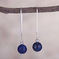 Lapis lazuli drop earrings, 'Pathway to Color' - Handcrafted Modern Lapis Lazuli and Sterling Silver Earrings
