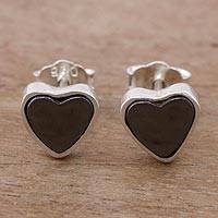 Silver stud earrings, 'Eternal Heart' - Hematite Heart Stud Earrings Crafted of 950 Silver