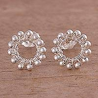 Silver button earrings, 'Astral Gleam' - Circular Beaded Silver Button Earrings from Peru