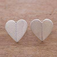 Silver stud earrings, 'Legend of Love' - Handcrafted Brushed 950 Silver Heart Stud Earrings