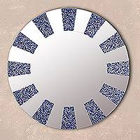 Glass wall mirror, 'Blue Rays' - Circular Glass Wall Mirror in Blue from Peru