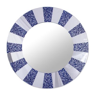 Circular Glass Wall Mirror in Blue from Peru