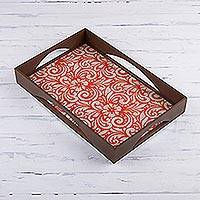 Reverse painted glass tray, 'Orange Bouquet' - Floral Reverse Painted Glass Tray from Peru