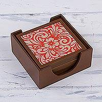 Reverse-painted glass coasters,