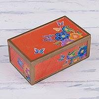 Reverse-painted glass decorative box, 'Seasonal Migration' - Butterfly and Flower Motif Reverse-Painted Glass Box