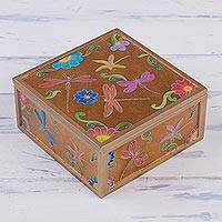 Reverse-painted glass decorative box, 'Flight of the Dragonfly' - Dragonfly Motif Reverse-Painted Glass Box from Peru