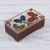 Reverse-painted glass decorative box, 'Butterfly Reflection' - Butterfly Motif Reverse-Painted Glass Box from Peru