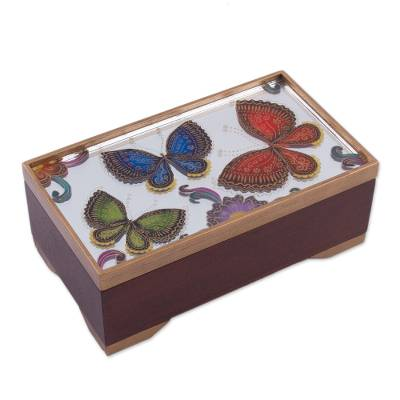 Butterfly Motif Reverse-Painted Glass Box from Peru