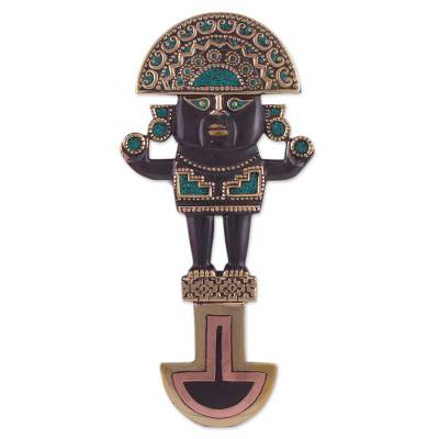 Copper, bronze and chrysocolla wall decor, 'Imperial Tumi' - Copper Bronze and Chrysocolla Ceremonial Knife Wall Decor